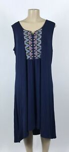 D32-Women-039-s-Style-amp-Co-Nirvana-Embroidered-Dark-Navy-Blue-Dress-Plus-Size-1X-NEW