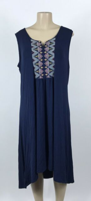 D32 Women's Style & Co Nirvana Embroidered Dark Navy Blue Dress Plus Size 1X NEW