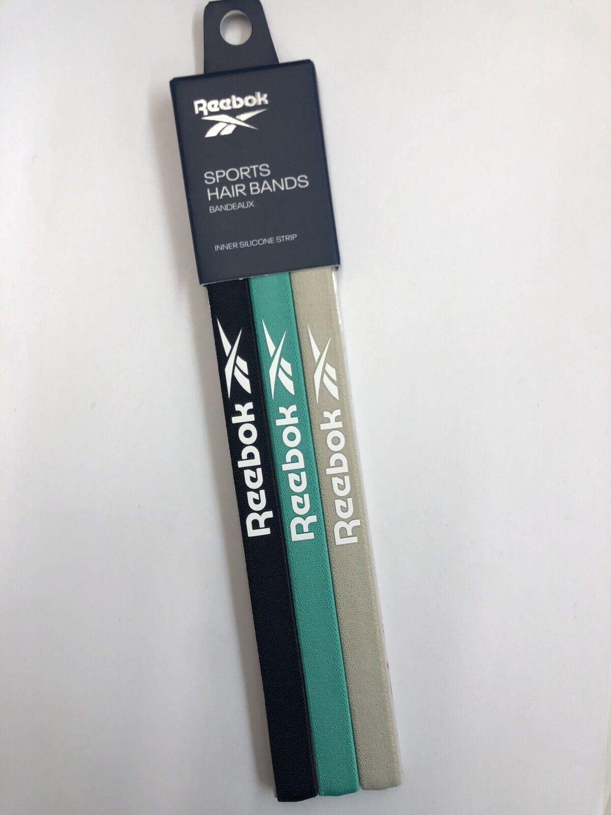 ! nuevo! 3 piezas bandas de pelo Reebok Mujer Sport Azul Marino/Verde/Beige