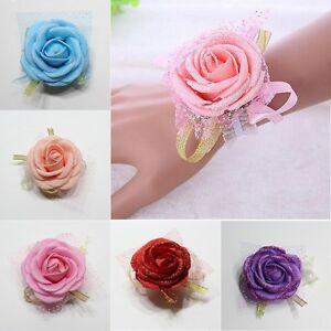 Bridal Bridesmaid Silk Flowers Wrist Corsage Wedding Party Rose