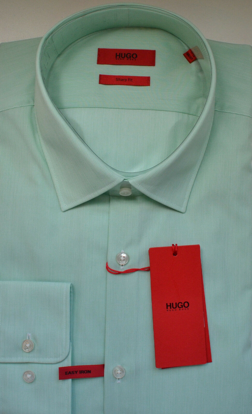 NWT HUGO ROT Label By Hugo Boss Sharp Fit Long Sleeve Striped Dress Shirt