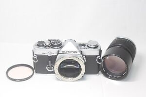 AS IS Olympus OM-2 Film Camera Silver & Zuiko MC Auto 135mm F/2.8 Lens