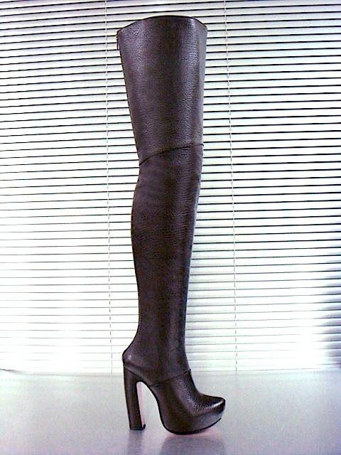 MORI MORI MORI ITALY SEXY OVERKNEE PLATFORM BOOTS STIEFEL STIVALI LEATHER BROWN brown 43 f9d8eb