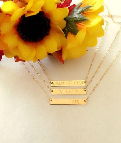 Personnalisé Nom Collier 14k Gold Filled initial Bar Collier