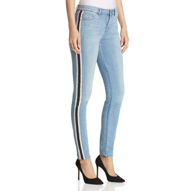 c2a982af968 T Tahari Womens Goldie Blue Denim Light Wash Striped Skinny Jeans 30 BHFO  0149