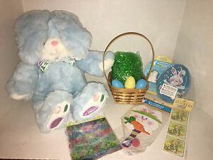 Pre Made Easter Basket For Boys Or Girls with Huge Blue Bunny Plush