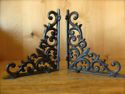 "SET OF 4 BROWN SHELF BRACKETS 9/"" ANTIQUE-STYLE RUSTIC CAST IRON GARDEN LATTICE"