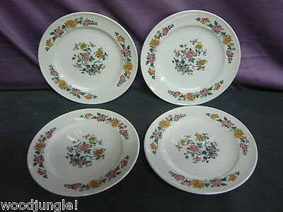 4 Vintage  MAYER CHINA LAWSON DINNER PLATES PINK YELLOW FLOWERS RESTAURANT WARE