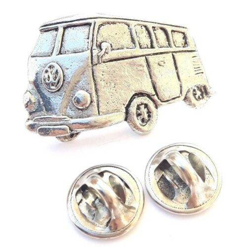 Classic Camper Van Handcrafted in Solid Pewter In UK Lapel Pin Badge