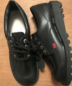 mens kickers kick lo black leather lace up smart work