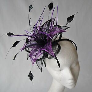 Image is loading Black-Purple-Feather-Fascinator-for-Weddings-Races-and- 2dd15ab996f