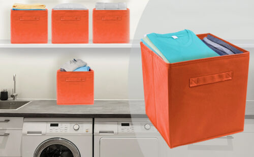 Set of 6 Foldable Fabric Basket Bin Collapsible Storage Cube for Nursery Toys