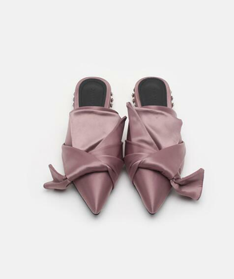 Damenschuhe Satin Toe Silk Bow Knot Pointed Toe Satin Mules Niedrig Cuban Heels Diamond Slippers D7 96becc