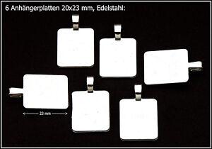 Anhaengerplatten-20x23-mm-Edelstahl-6-Stueck