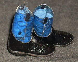 Dollhouse-Miniature-Western-Cowgirl-Blue-Snakeskin-Snake-Roper-Boots-1-12-5943