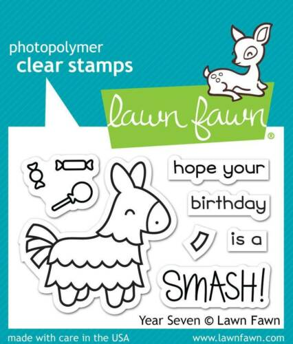"""Pinata Geburtstag Bonbons Clear Stamps Stempel /""""Year Seven/"""" Lawn Fawn"""
