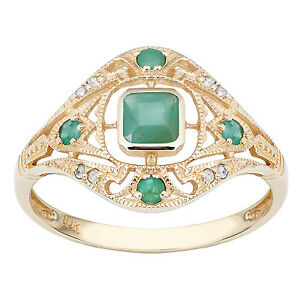 10k-Yellow-Gold-Vintage-Style-Genuine-Emerald-and-Diamond-Ring