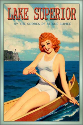 LAKE SUPERIOR PinUp Poster Minnesota Wisconsin Michigan Ontario Art Print 243