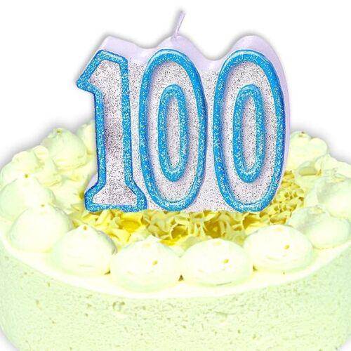 Geburtstagskerze Zahl 100 in schimmernden Blau