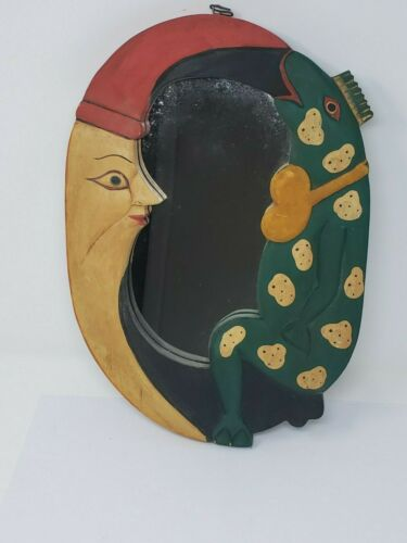 Indonesian Balinese Handcrafted Wooden Moon and Frog Mirror