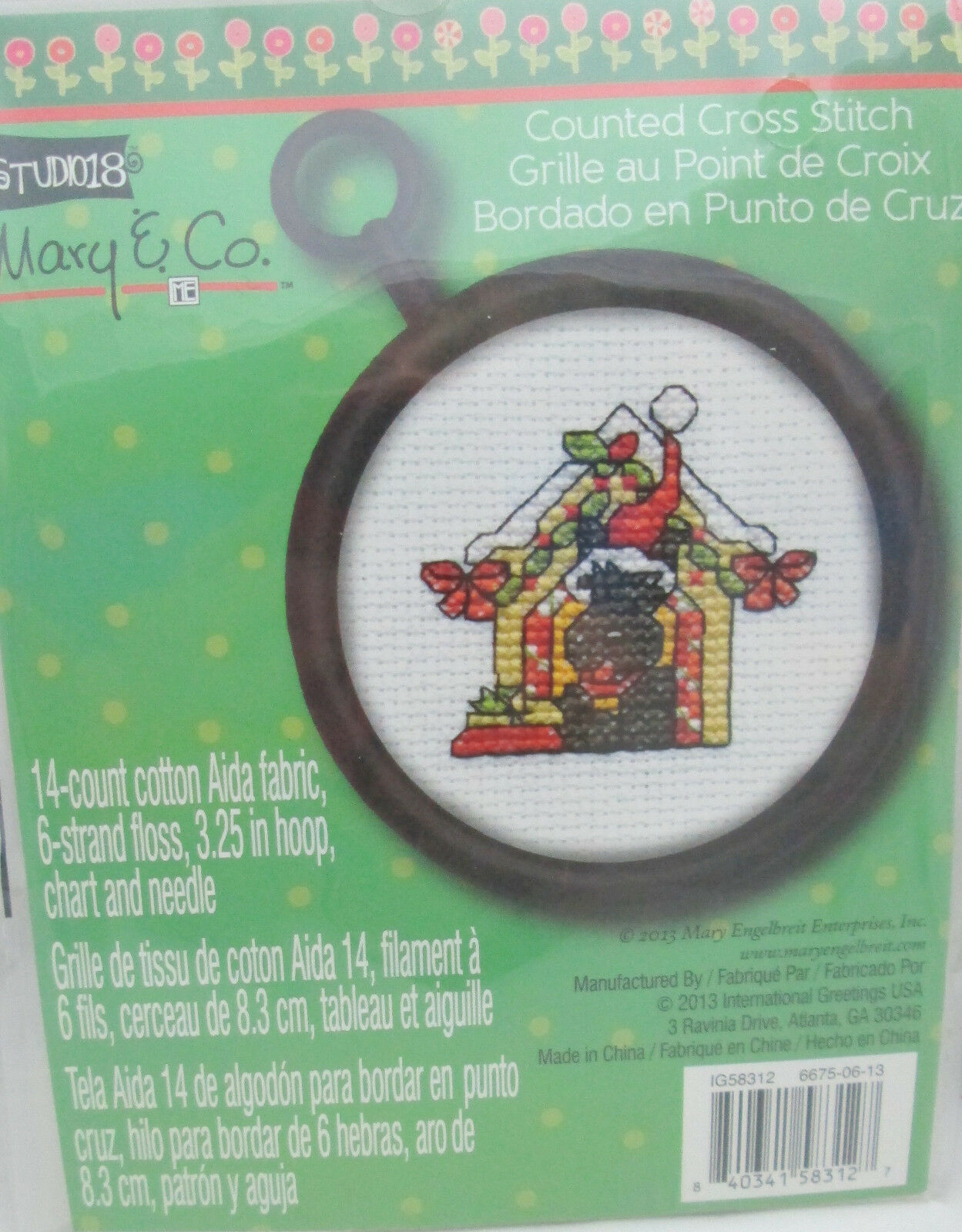 1 Studio 18 14 Ct Mini Christmas Counted Cross Stitch Kit Scotty