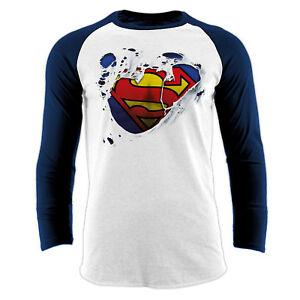 Official-DC-Comics-Superman-Torn-Logo-Long-Sleeve-Baseball-shirt-Small