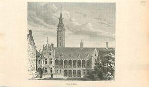 Mont-de-piete-de-Bruxelles-Berg-van-barmhartigheid-Brussel-GRAVURE-PRINT-1880