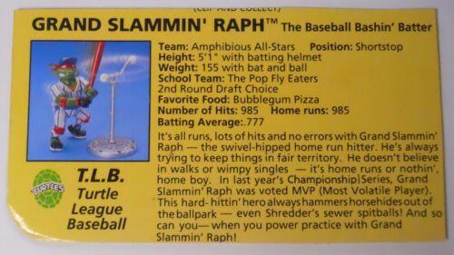 VINTAGE-1991 Playmates Teenage Mutant Ninja Turtles Filecard-Grand Slammin/' Raph