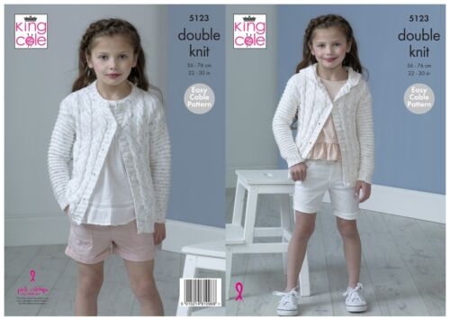 Easy Knit Girls Hooded or Round Neck Cardigan King Cole Knitting Pattern 5123