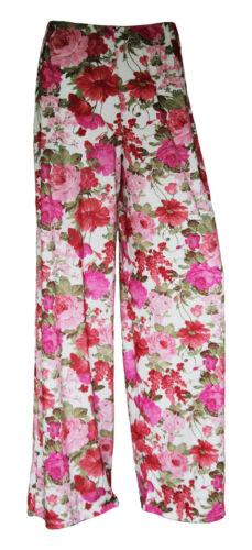 LADIES FLORAL PRINT PALAZZO TROUSERS WOMENS SUMMER WIDE LEG PANTS PLUS SIZE UK
