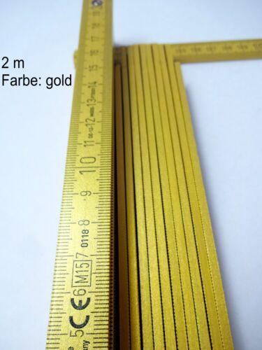 goldener Zollstock goldig Gliedermaßstab selten goldfarbend 2m Marke Bauer NEU