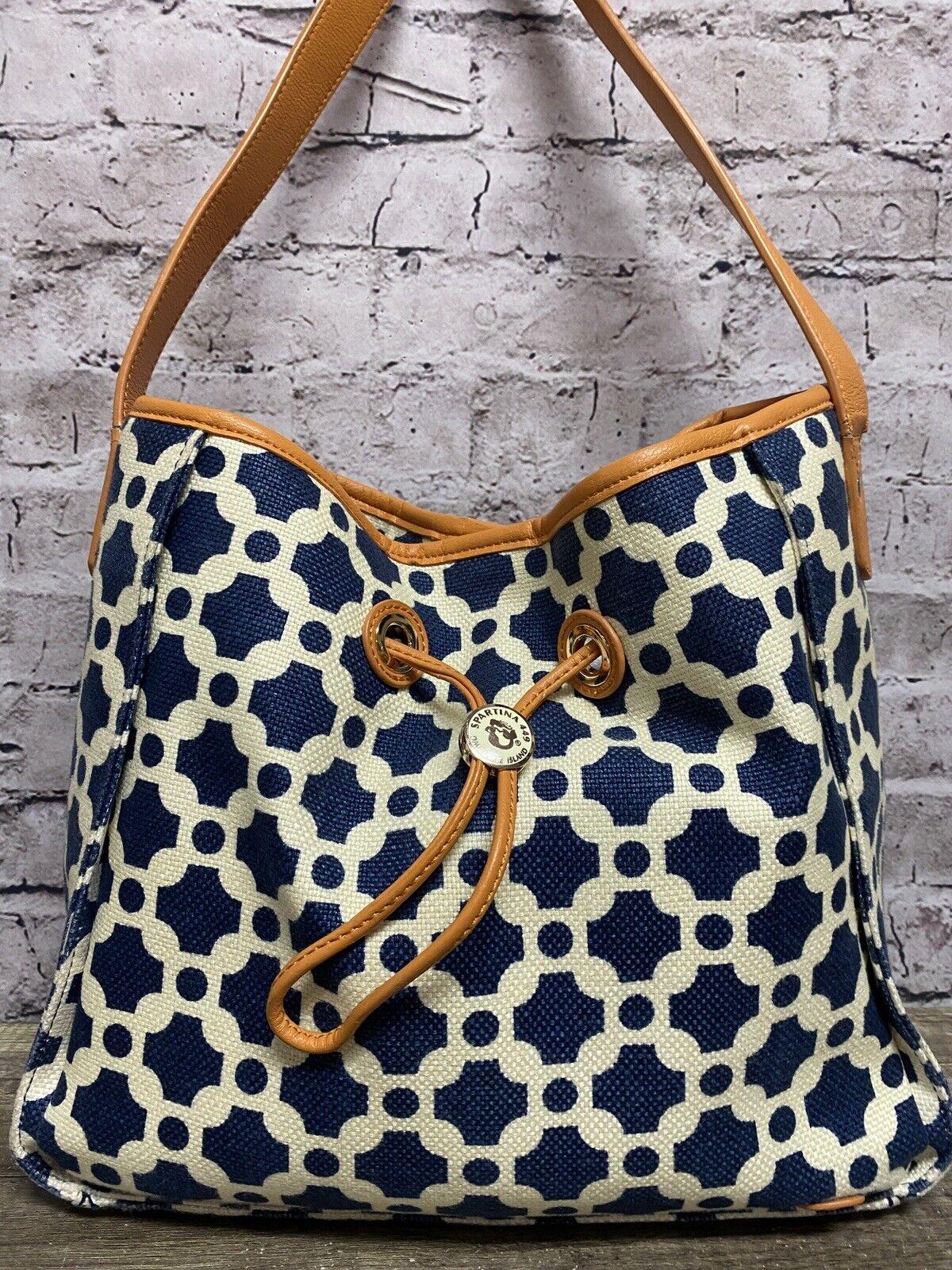 Spartina 449 Women's Drawstring Shoulder Handbag Blue/Orange 11x13