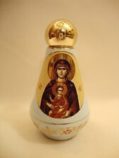 Orthodox & Catholic Gold Icon Ceramic Virgin Mary Jesus & POPE Holy Water Bottle