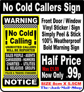 Sign Window Sticker Police /& Trading Standards No Cold Calling