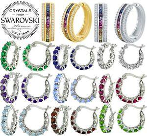 Rainbow-Gemstone-Pave-Hoop-Earring-14k-Gold-with-Swarovski-Crystal-10-Options