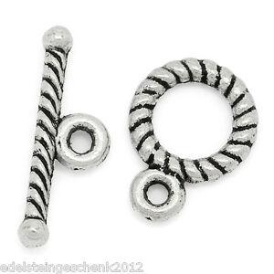 50-Set-Antik-Silber-Knebel-Verschluss-Verbinder-9-11mm