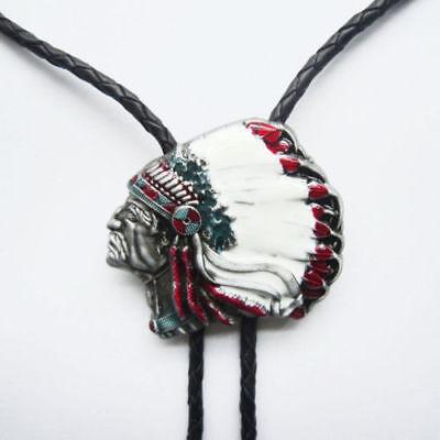 American Indian Chief Head Western Cowboy Rodeo Bolo Tie