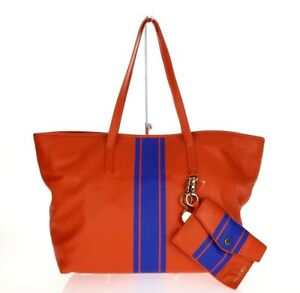 Image Is Loading Cynthia Rowley Orange Hayden Striped Leather Tote Bag