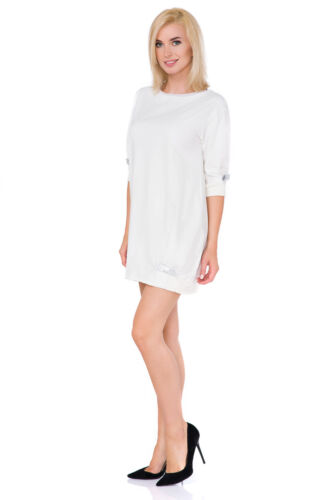 Women/'s Crew Neck Mini Loose Fit Oversized Tunic Dress With  Fancy Bows FT2983