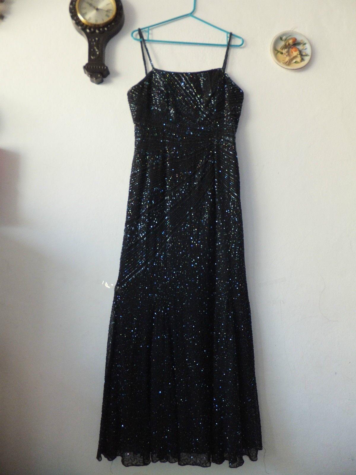 MADELEINE Abend Kleid Schwarz Pailletten Gr. 38