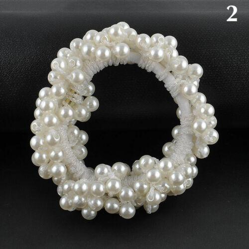 Neue Damen Perlen Haarband Haargummi Scrunchie Gummihaarband Haarschmuck W6K1