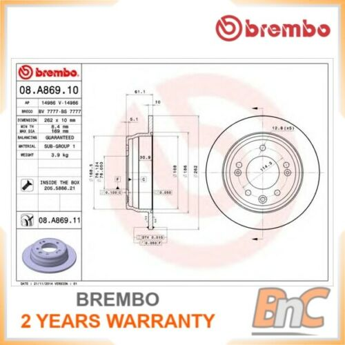 2x BREMBO REAR BRAKE DISC SET KIA FOR HYUNDAI OEM 08A86911 584111H300