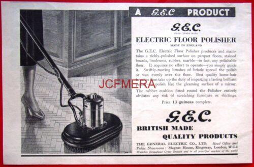 Vintage 1937 G.E.C Electric Floor Polisher AD Original Art Deco Print ADVERT