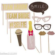 wedding pastel glitter photobooth props on sticks team bride groom fun
