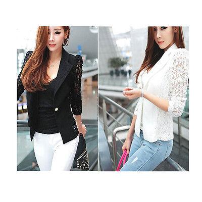 New Hot Women Spring Long Sleeve Lace Slim OL Blazer Suit Top Casual Jacket Coat
