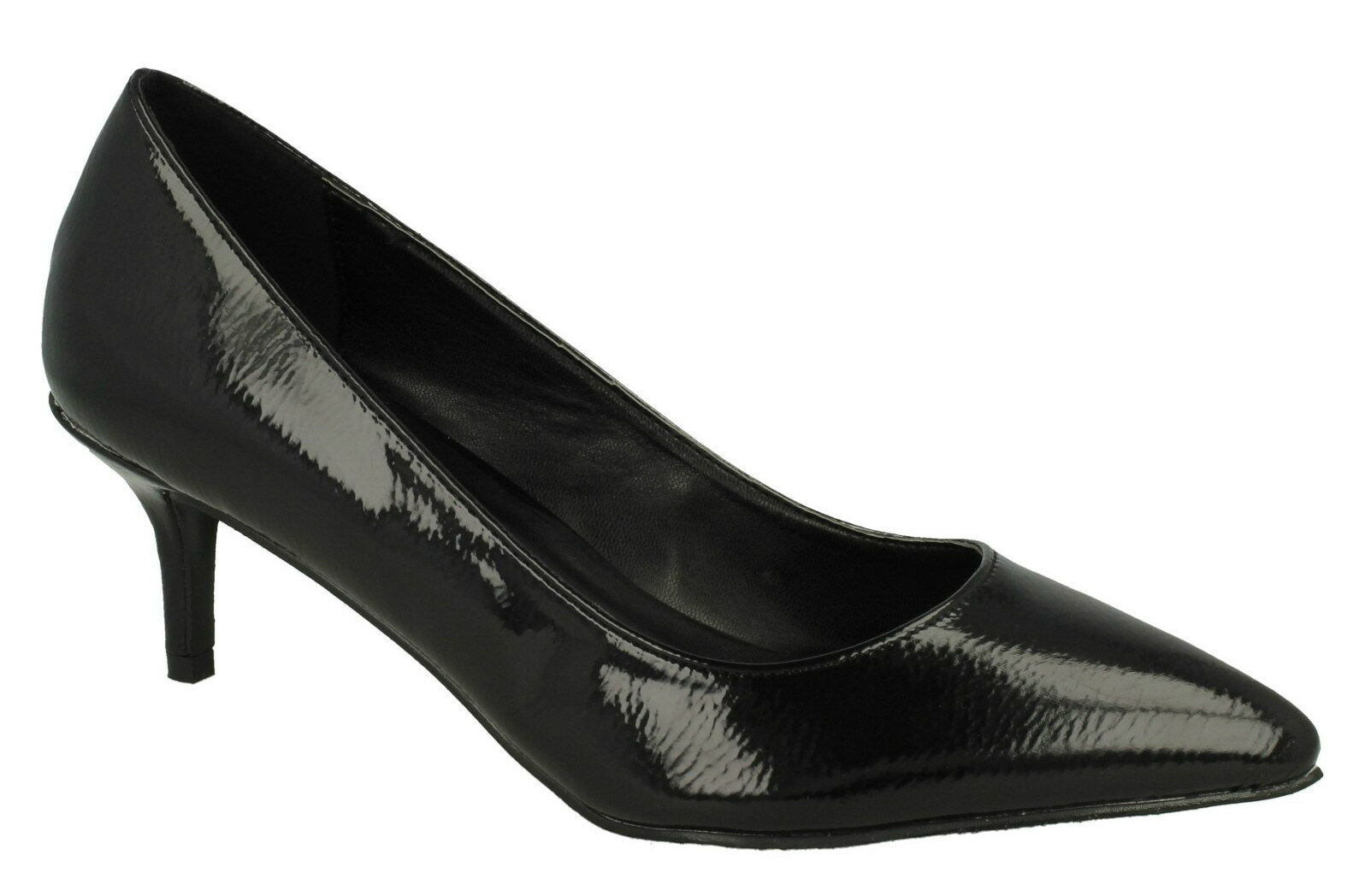 "Spot On F9952 Ladies Black Patent Slip On 3"" approx Kitten Heeled Court Shoes"