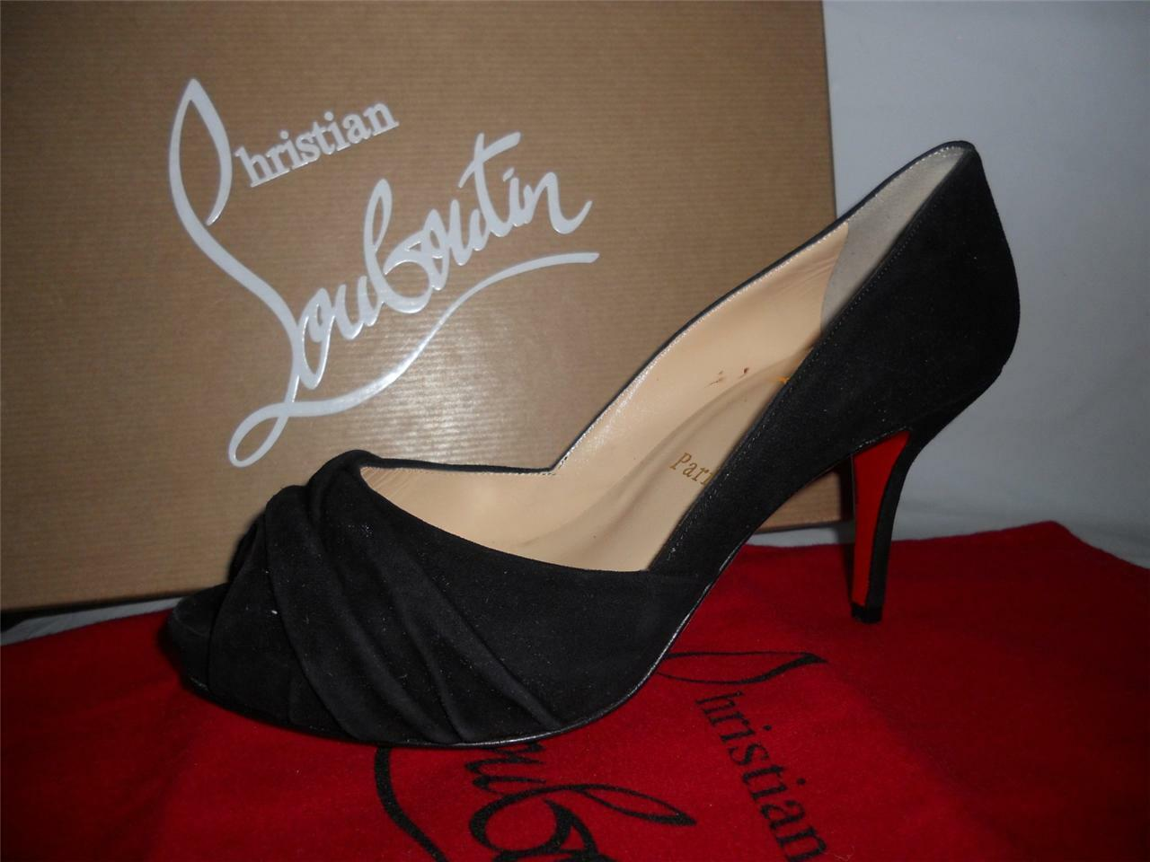 Christian Louboutin VERDE Black Black VERDE Suede Ruched Peep Toe Pump Heels Shoes 35.5 $995 5da3ac