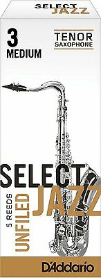 1 Box of 5 D'Addario/Rico Select Jazz Reeds Tenor Saxophone Unfiled. 3-Medium/3M