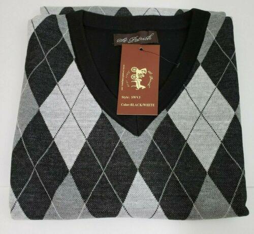 St Patrick Mens Sweater Vest Black Argyle Front Solid Black Back V-neck 7XL