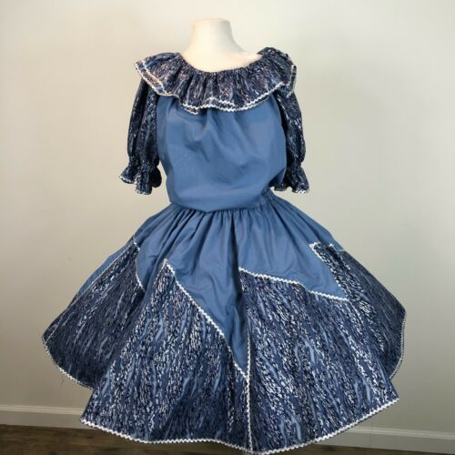 Square Dance Outfit Skirt Blouse Blue Silver Ric R